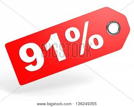 91 Percent Red Discount Tag On White Background.