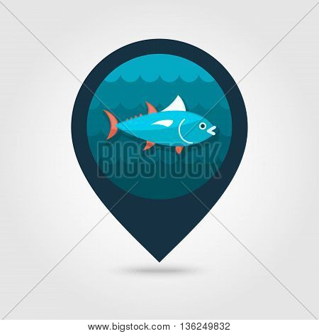 Tuna vector pin map icon. Fishing. Beach Map pointer. Summer Map markers. Summertime. Vacation eps 10