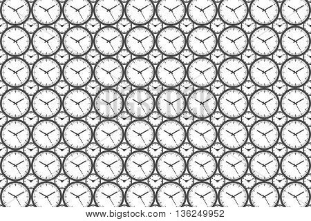 Clock Pattern Background - Outline Vector Illustration. Time theme. Simplified Lines Design.
