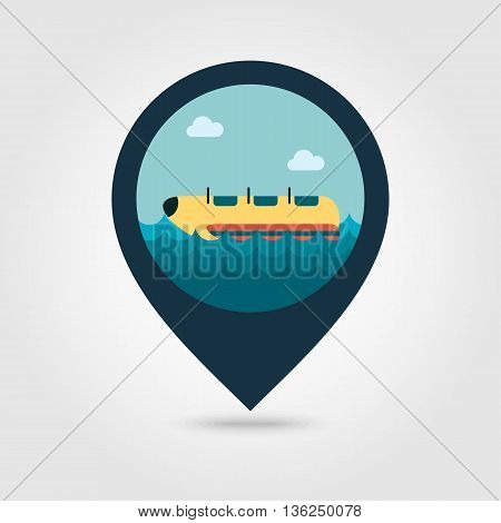 Yellow banana boat vector pin map icon. Beach Map pointer. Summer Map markers. Summertime. Vacation eps 10