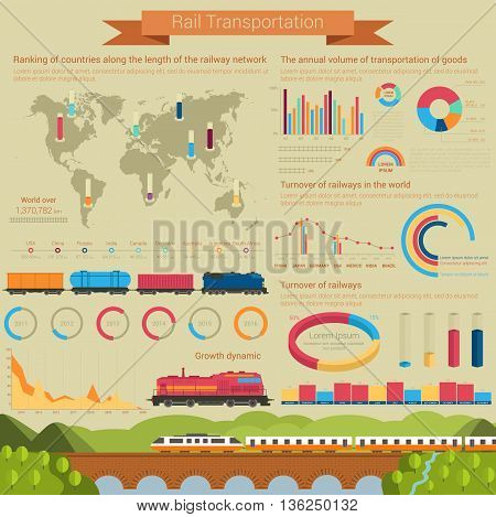 Rail transportation infographic or infochart template or layout using linear and bar, circle and pie charts with railroad or railway covered wagon, high speed passenger locomotive and goods or freight wagons