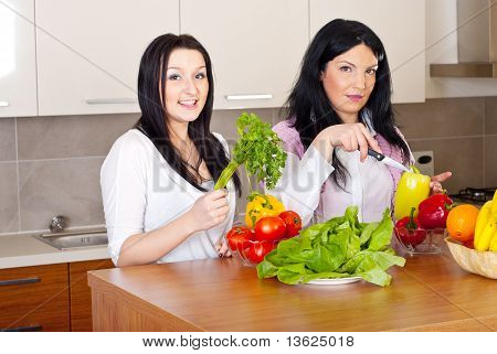 Two Women Prepare The Dinner