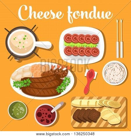 Melted cheese swiss or italian, french fondue with bread for dipping into bagna soup, raw garlic and spoon. For restaurant or menu design usage