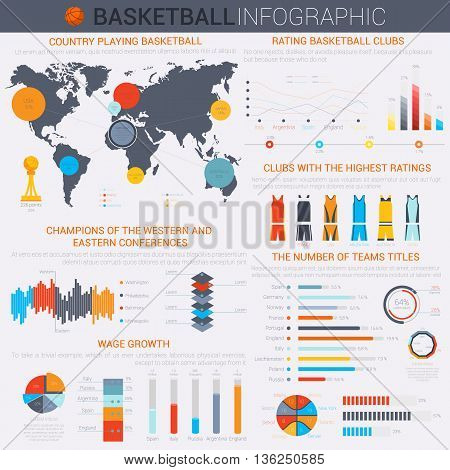 Basketball infochart or infographic template with segmented circle and linear, isometric oval charts, world map and team colorful uniform of shirts and shorts