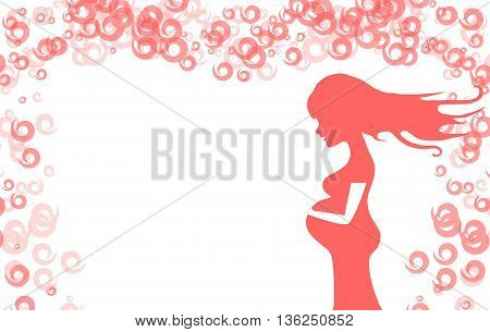 Greeting card young pregnant woman with long hair who expecting daughter. Gently holding belly. Vector monochrome illustration.