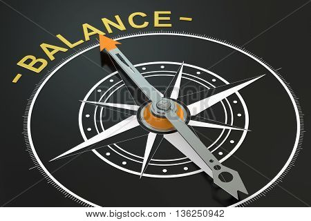 Balance compass concept 3D rendering on black background