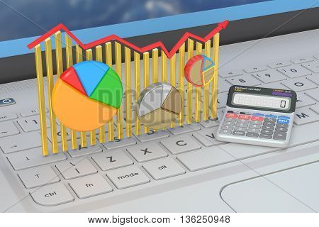 Business finance banking and statistic concept on the laptops keyboard 3D rendering