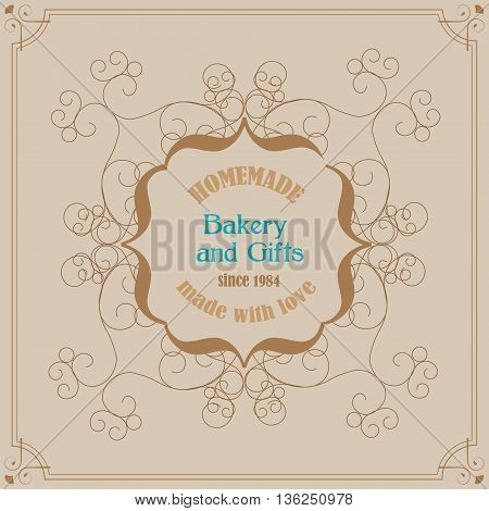 Hand Made Bakery Logo with Florish Frame and Vingae Border