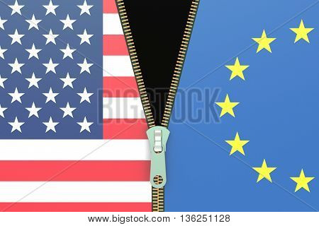 USA and EU relation concept 3D rendering