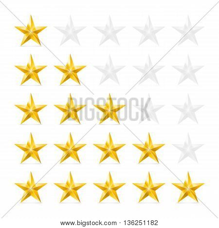 Simple Stars Rating. Gold Shapes with Shadow on White