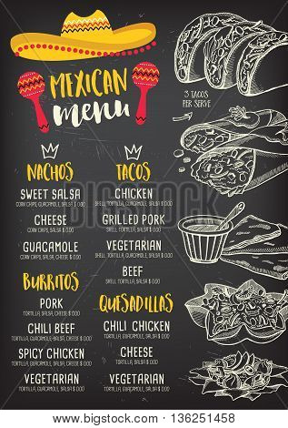Mexican menu placemat food restaurant menu template design. Vintage creative dinner brochure with hand-drawn graphic. Vector food menu flyer.
