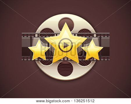 Cinematography icon online cinema logo design creative art concept with movies disc film tape and golden stars vector illustration