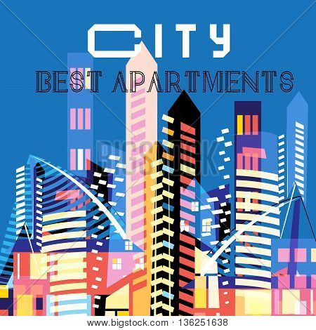 Vector background with modern high-rise colored houses
