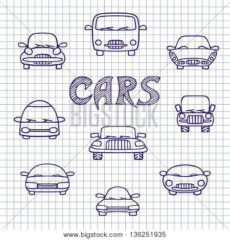 Set of sketches cars. Hand-drawn on notebook sheet. Vector illustration in Doodle style.