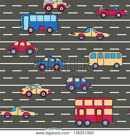 Seamless pattern with cars and buses on the highway. Urban transport hand-drawn in a cartoon style.