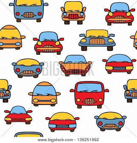 Car cartoon vector seamless pattern. It can be used as a pattern for the fabric, wrapping paper, board games and etc.