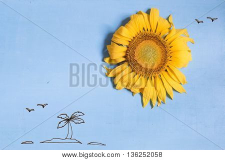 summer or beach idea, a sun - sunflower and island with palm tree in the ocean