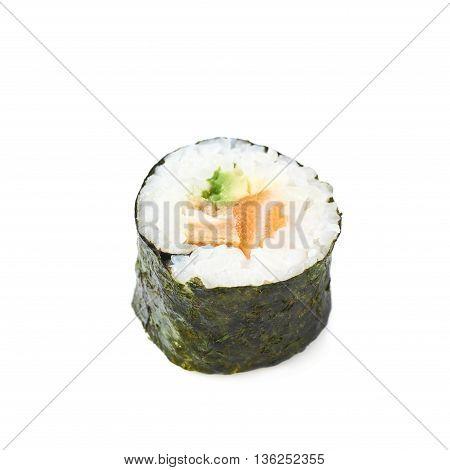 Aljaska hosomaki sushi isolated over the white background