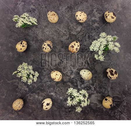 Decorative bright pattern with quail eggs and flowers on dark stone background. Flat lay top view