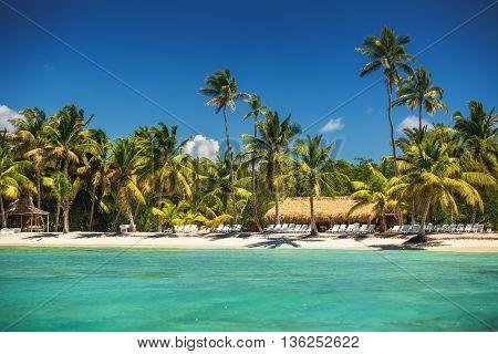 Tropical Island In Carribean Sea, Beautiful Panoramic View