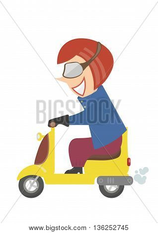 girl without a helmet riding a motorcycle. Improper driving.