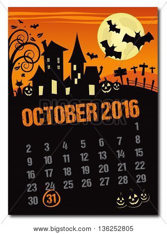 Halloween october 2016 orange countdown calendar poster no shadow on the eps 10 text is outlined