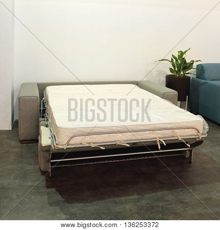 Open Sofa Bed With Mattress in Living Room