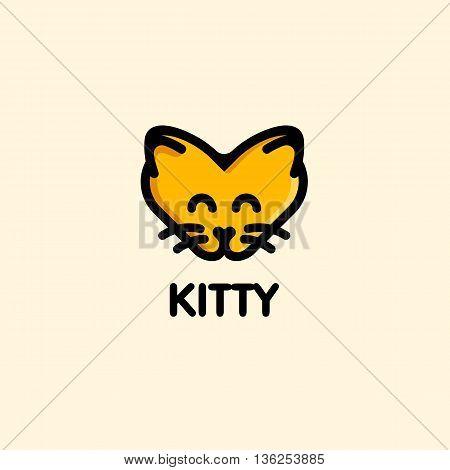 Isolated orange color kitty on the pink background. Cat vector illustration. Cute animal muzzle vector logo. Cartoon kitten head logotype. Children toy vector illustration