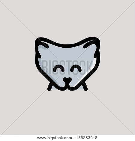 Isolated grey color wolf cub on the grey background. Cute animal muzzle vector logo. Cartoon character head logotype. Children toy vector illustration