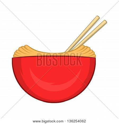 Red bowl of rice with pair of chopsticks icon in cartoon style on a white background