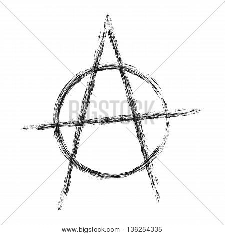 Silhouette anarchy symbol. Illustration rough brush painted by hand. Isolated element. Abstract.