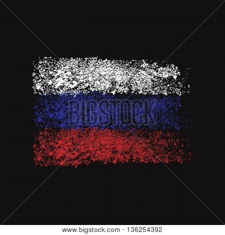 Flag of Russia. Brush strokes. Fine particles. Isolated black background.