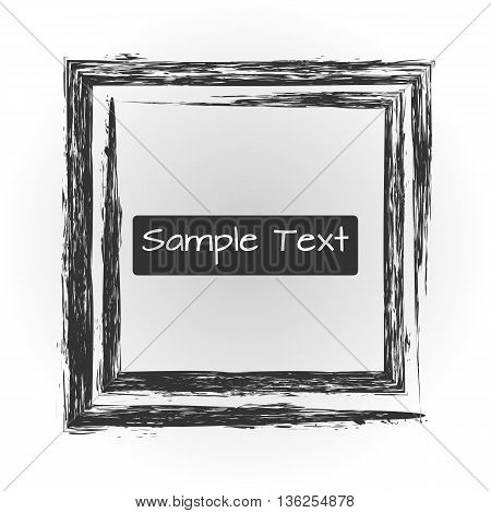 The square frame. Rough untidy brush. Abstract image.