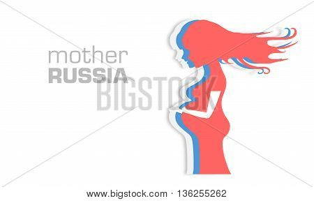 Vector colorful illustration of beautiful pregnant woman on white background. Card Mother Russia