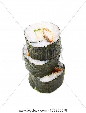 Alaska hosomaki sushi isolated over the white background