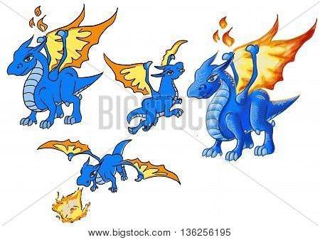 The Dragon. Dragon blue. His fiery wings. There are several postures that dragon.