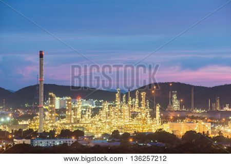 Oil refinery industry at night. Oil refinery industry. Landscape of industry estate in Thailand.