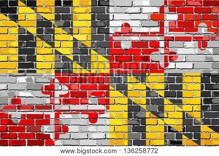 Flag of Maryland on a brick wall - Illustration,  The flag of the state of Maryland on brick textured background,  Maryland Flag in brick style
