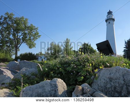 Wind Point Lighthouse on  beautiful spring day in the Racine, Wisconsin area