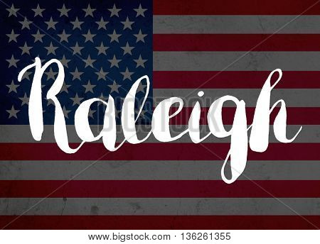 Raleigh written with hand-written letters