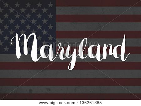 Maryland written on flag