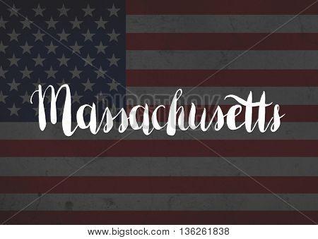 Massachusetts written on flag