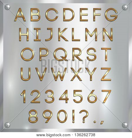 Vector gold coated alphabet capital letters, digits and punctuation on silver metallic background