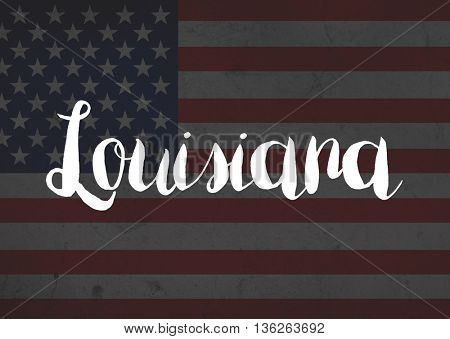 Louisiana written on flag