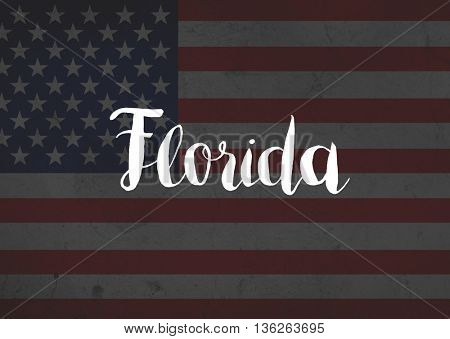 Florida written on flag