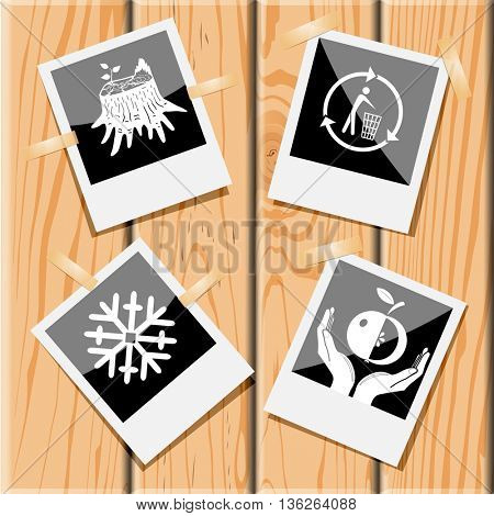 4 images: stub, recycling bin, apple in hands, snowflake. Nature set. Photo frames on wooden desk. Vector icons.