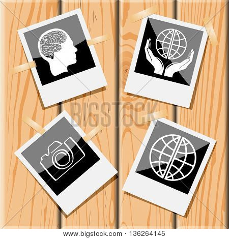 4 images: human brain, protection world, globe, camera. Education set. Photo frames on wooden desk. Vector icons.