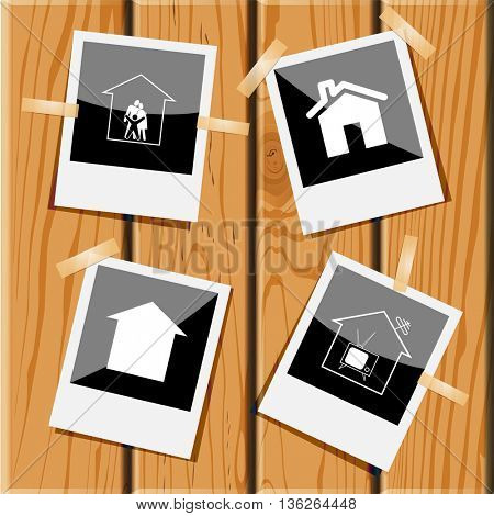 4 images: family, homes, tv. Home set. Photo frames on wooden desk. Vector icons.