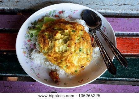 Traditional Thai style Omelet on rice .