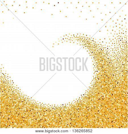Illustration of Gold Glittering Sparkles Wave on White